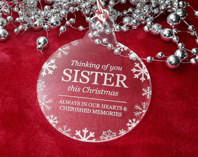 Thinking of You Sister - Christmas, Christmas Tree, Bauble, Decoration, Ornament, Vintage Christmas, Laser Engraved, Memorial, Sister