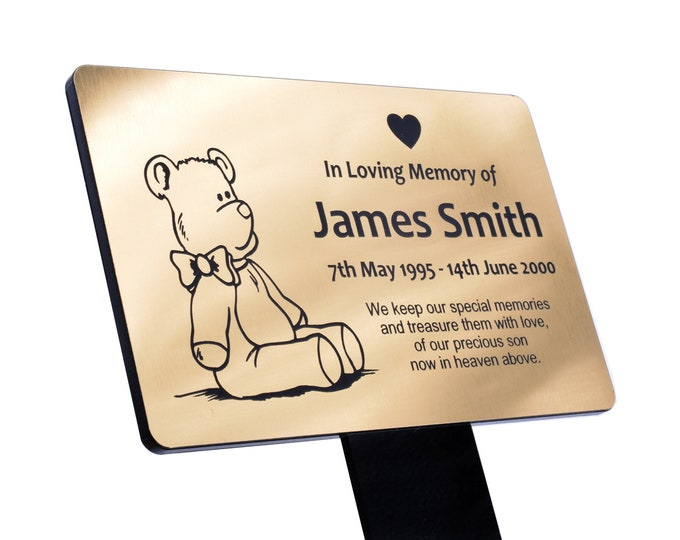 Personalised Children's Teddy Bear Memorial Plaque Stake - Grave Marker Outdoor Garden Waterproof  (available in Silver / Gold / Copper)