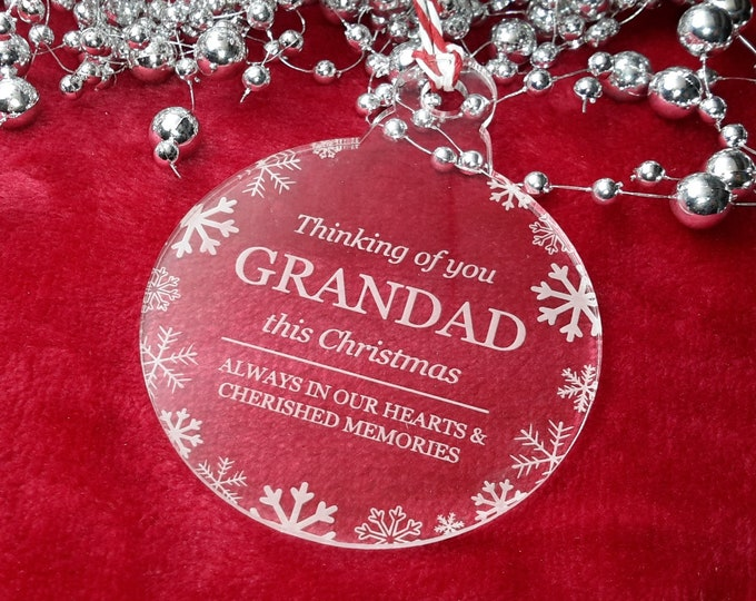 Thinking of You Grandad - Christmas, Christmas Tree, Bauble, Decoration, Ornament, Vintage Christmas, Laser Engraved, Memorial, Grandad