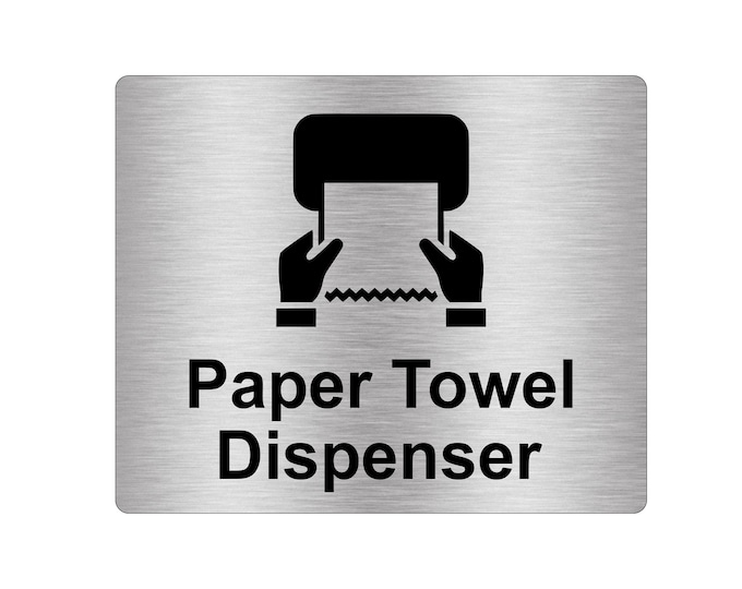 Paper Towel Dispenser Sign Adhesive Sticker Notice, Metallic Silver Engraved Black with Universal Icon Symbol and Text (Size 12cm x 10cm)