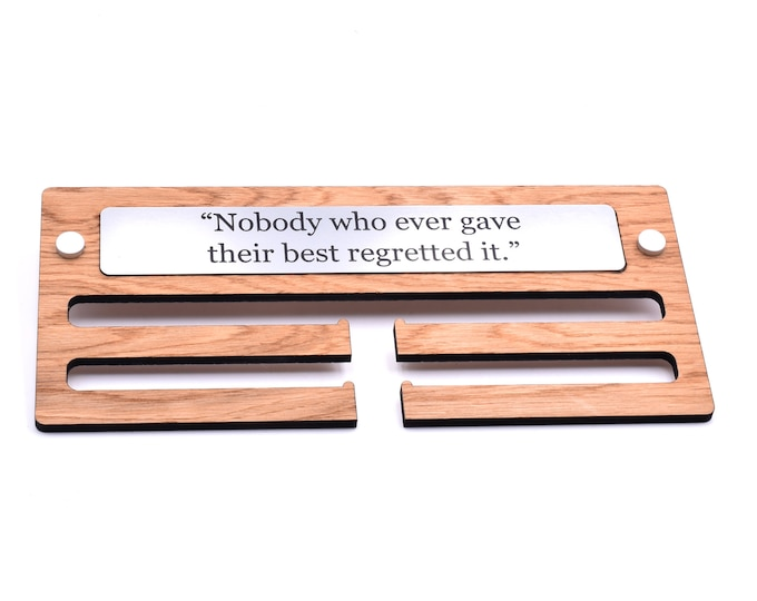 Hardwood Oak Veneer Medal Holder Hanger Display - Available in a Choice of Motivational Quotes, Ideal for Displaying Your Medals, 29cm wide