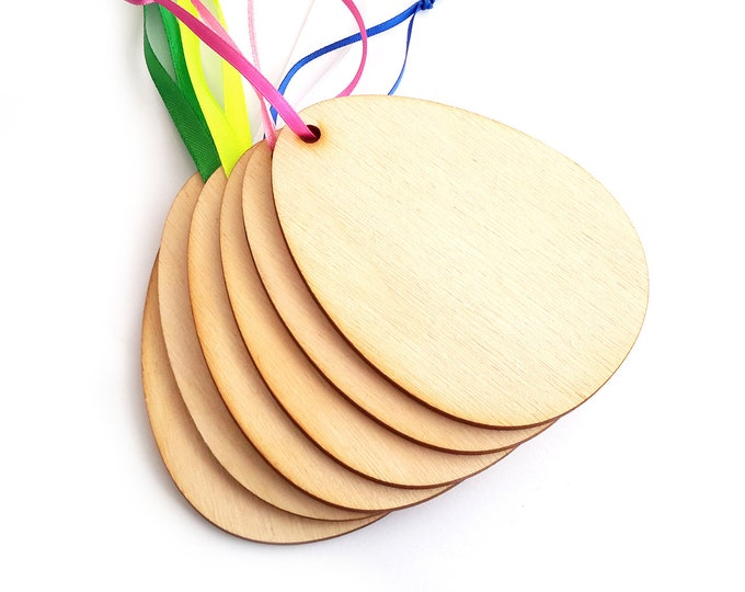 EASTER CRAFTS - Wooden Blank Easter Egg Shapes x6, to decorate, supplied with Ribbon