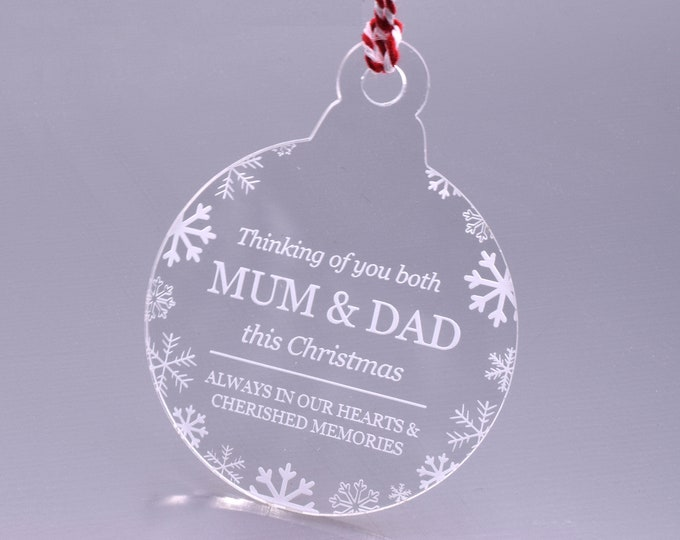 Thinking of You Both MUM & DAD - Christmas, Christmas Tree, Bauble, Decoration, Ornament, Vintage Christmas, Laser Engraved, Memorial Bauble