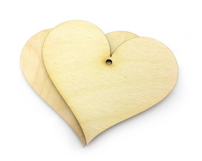 Wooden Heart Craft Shapes - 8.5 cm x 7.5 cm (10 Pack)