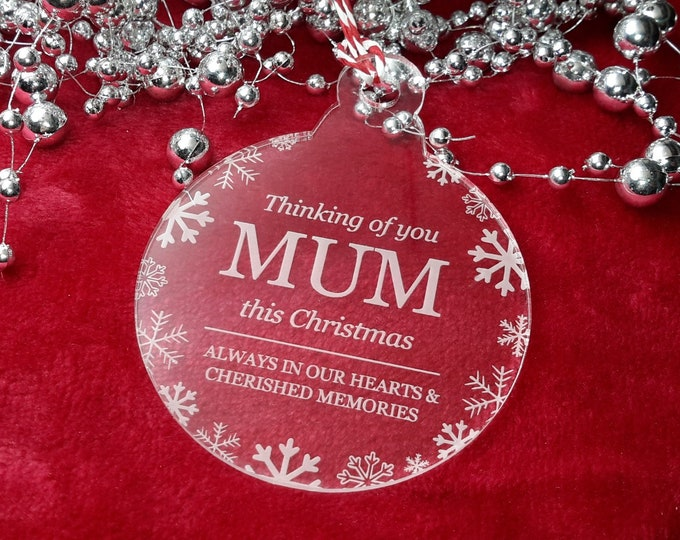 Thinking of You Mum - Christmas, Christmas Tree, Bauble, Decoration, Ornament, Vintage Christmas, Laser Engraved, Memorial, Mum Bauble,