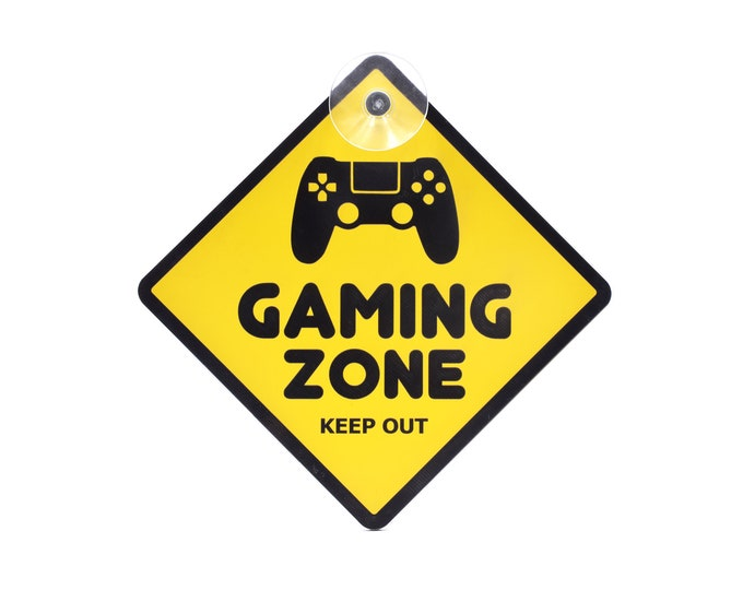 Gaming Zone, Keep Out -Yellow and Black Acrylic Door Sign for Boys Girls Bedrooms, Games Room, Office, Ideal for Online Gamers