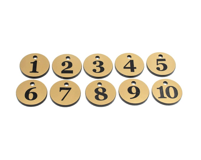 GOLD Small Circular Key Fobs Numbered 1-10 - Acrylic, Black Engraved Numbers, Ideal for Hotels, Guest Houses, Lodges, Lockers