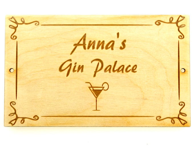 Novelty Gift, Personalised, Gin Palace, Wooden, Sign - add your name or a friends.