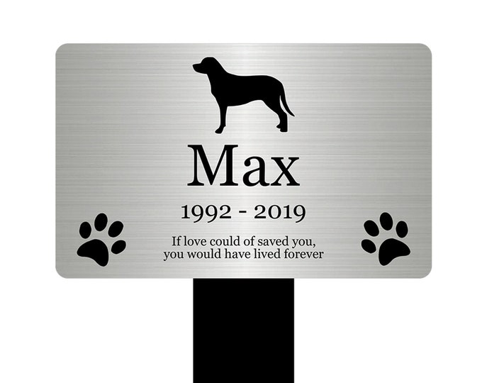 Large Personalised Pet Dog Memorial Stake - Engraved Plaque, Waterproof, Grave Marker, Outdoor, Garden, (Silver /Gold / Copper / Black)