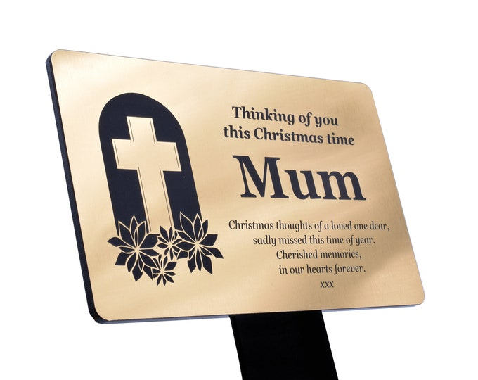 Personalised Christmas Memorial Plaque Stake - Grave Marker Outdoor Garden Waterproof Remembrance (available in Silver / Gold / Copper)