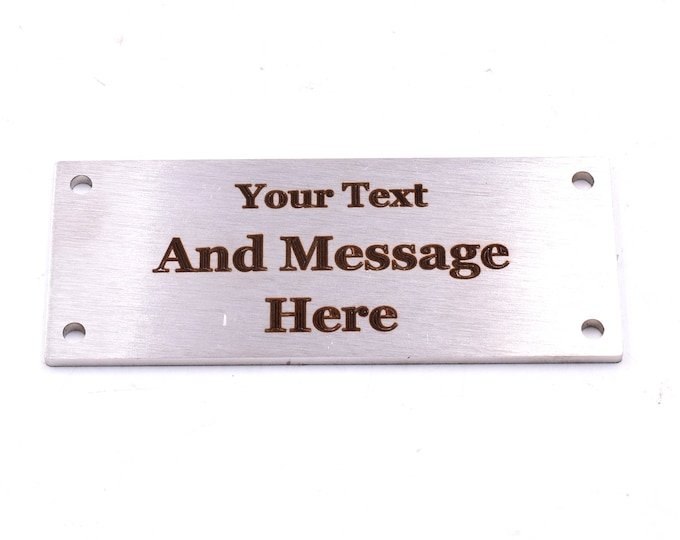 New 3mm Thick Solid Stainless Steel Personalised Memorial Plaque  - Outdoor, Waterproof, Bench, Grave Marker, Tough and Durable 100mm x 40mm