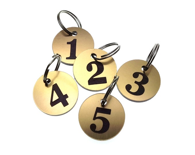 GOLD Small Circular Key Fobs Numbered 1-5 - Acrylic, Black Engraved Numbers, Ideal for Hotels, Guest Houses, Lodges, Lockers