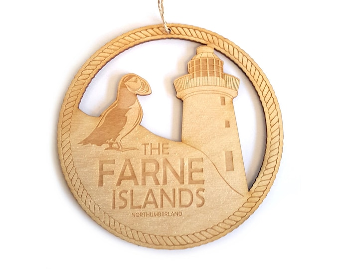 Northumberland Plaque - Farne Islands, Inner Farne, Puffin, Home Decoration, Gift, Handmade, Holiday Momento