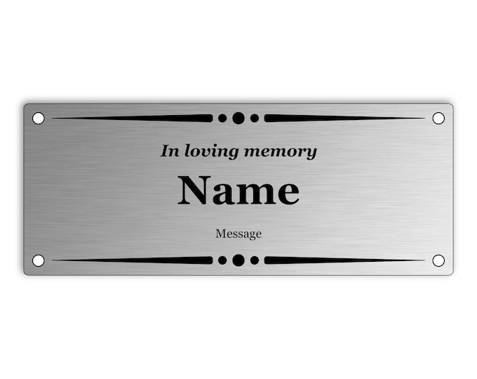 Medium Custom Personalised Stainless Steel Memorial Plaque  - Outdoor, Garden, Waterproof, Bench, Grave Marker, 150mm x 60mm x 3mm