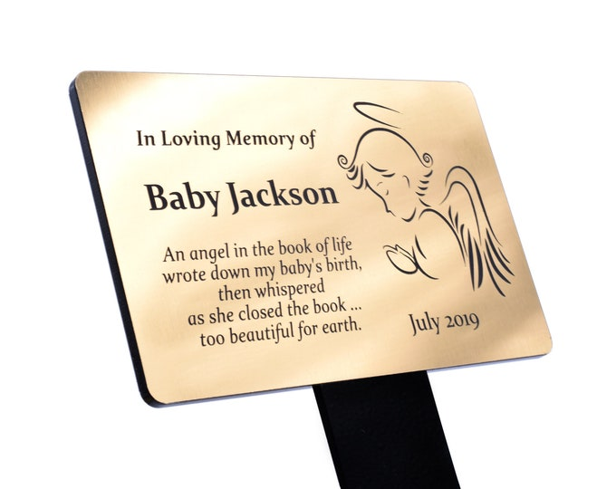 Personalised Baby Angel Memorial Plaque Stake - Grave Marker Outdoor Garden Waterproof  (available in Silver / Gold / Copper)