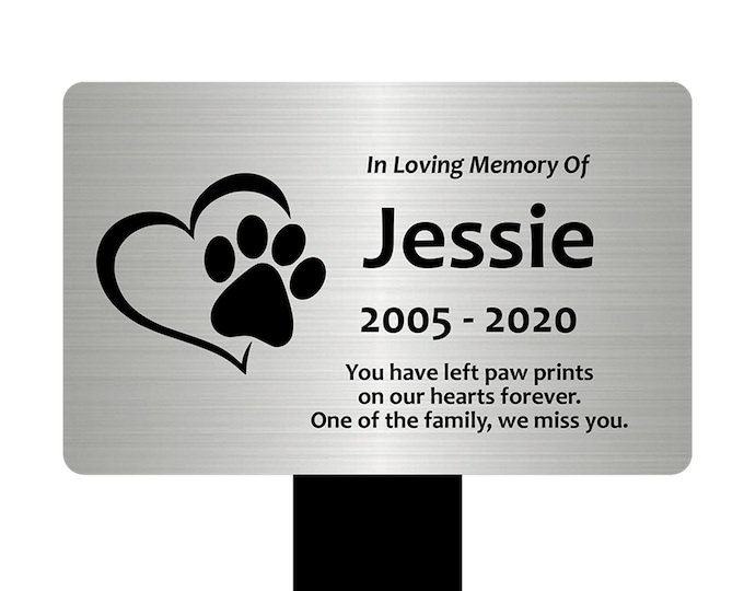 Large Personalised Paw Print Heart Pet  Memorial Stake - Engraved Plaque, Waterproof, Grave Marker, Garden, (Silver / Gold / Copper / Black)