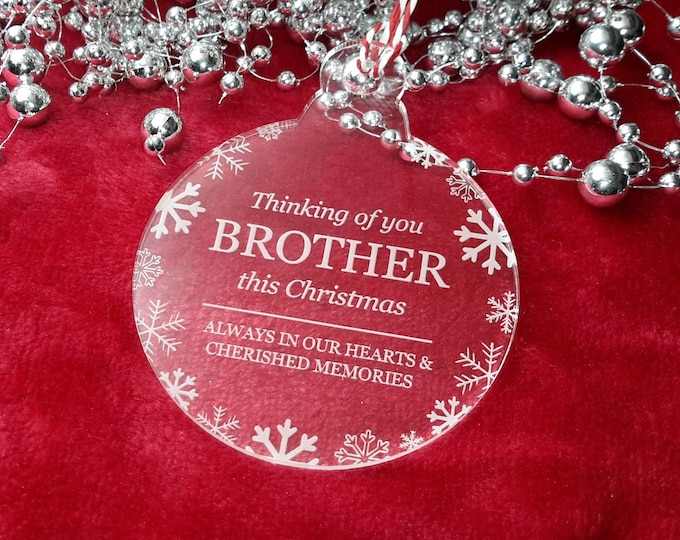 Thinking of You Brother - Christmas, Christmas Tree, Bauble, Decoration, Ornament, Vintage Christmas, Laser Engraved, Memorial, Brothe