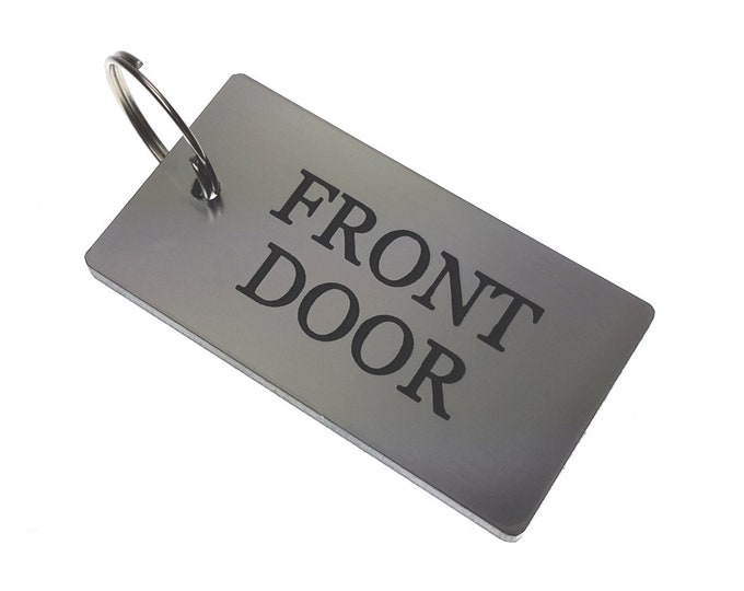 FRONT DOOR Key Ring - Silver Metallic Acrylic Plastic, House & Home,