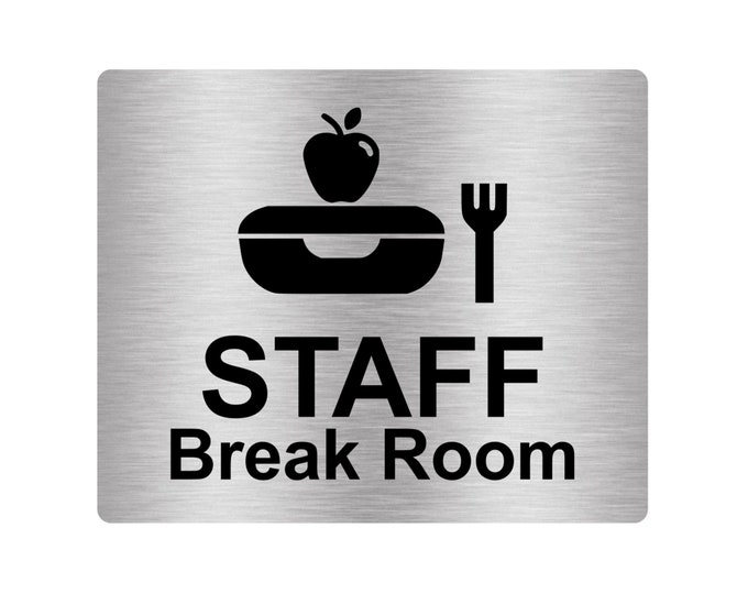 Staff Break Room Sign Adhesive Door Sticker Notice with Universal Icon Symbol and Text (Size 12cm x 10cm) Metallic Effect Silver / Gold