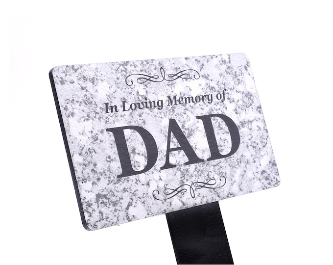 In Loving Memory of DAD Memorial - Granite Stone Effect Plaque Stake, Grave Marker, Garden, Outdoor, Decorative Tribute