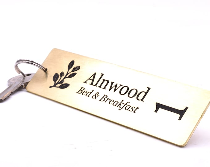 Double Sided Personalised Solid Brass Key Fobs - Ideal for Hotels, Bed and Breakfast, Guest Houses