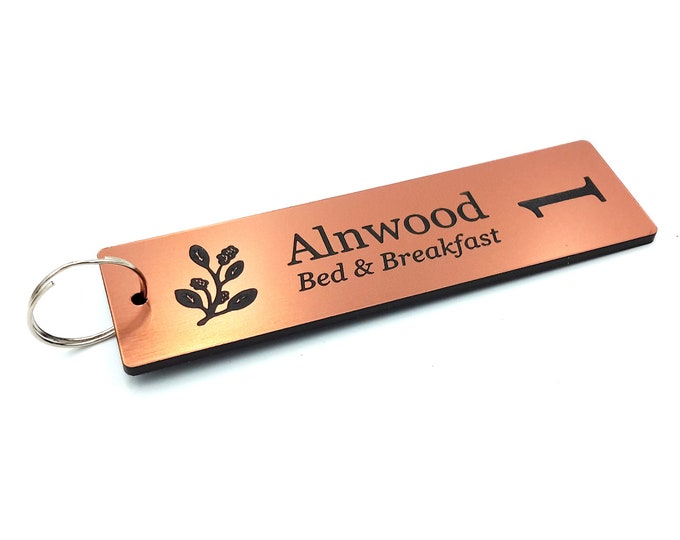 Personalised Key Fobs - COPPER Rectangle - Ideal for Hotels, Bed and Breakfast, Guest Houses