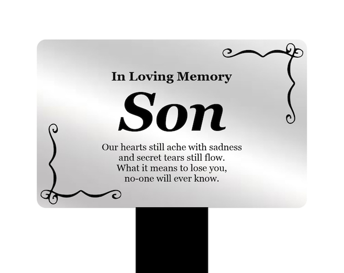 SON Memorial Remembrance Plaque Stake - (Silver / Gold / Black & White) Waterproof, Outdoor, Grave Marker, Tribute