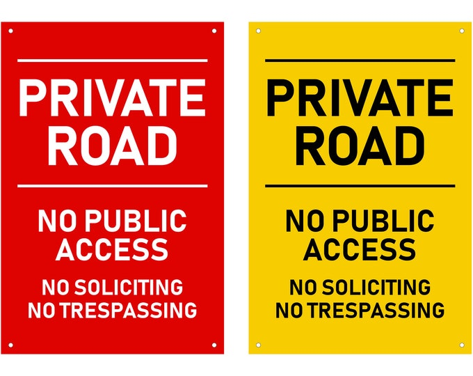 Hi-Viz Private Road Sign - Sturdy 3mm Plastic Acrylic, in Red or Yellow, Engraved, Outdoor, Waterproof, with drill holes for easy fixing