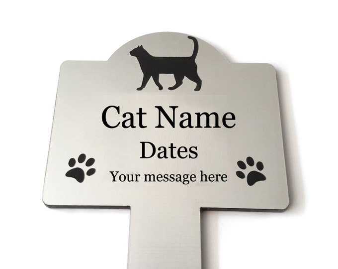 Pet Cat Memorial Stake - Personalised Engraved Metallic Silver Plaque, Waterproof, Grave Marker, Outdoor, Garden,