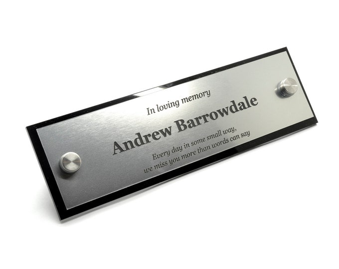 Personalised Memorial Plaque in Silver / Gold / Copper - Outdoor, Garden, Waterproof, Bench, Grave Marker,