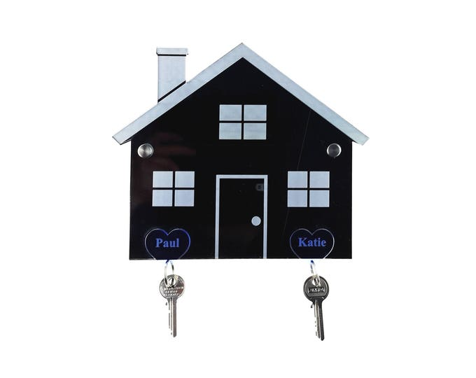 Personalised Key Holder, Key Rack (with 2 Personalised key rings) - Ideal gift for moving house, moving in together, first house