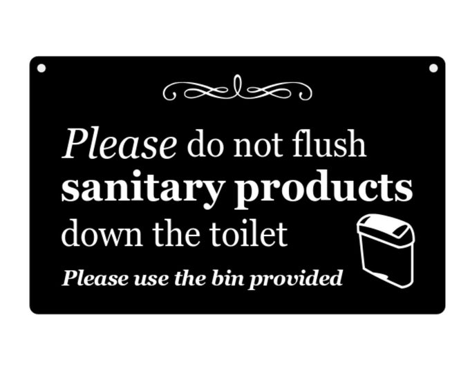 Stylish Black & White, SANITARY BIN Sign for Toilet, Ladies, Loo, Bathroom, W.C - hanging sign supplied with twine