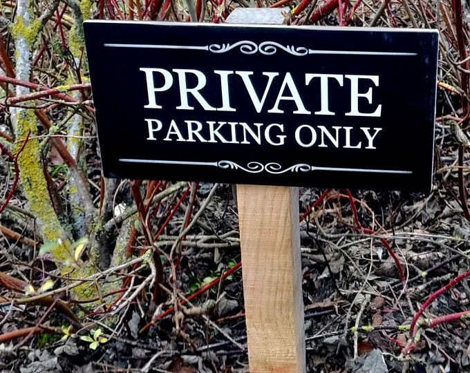 Large Size Exterior Private Parking Only Sign. Easy to See High Visibility Black or Blue - Available with Mounting Holes or Wooden Stake