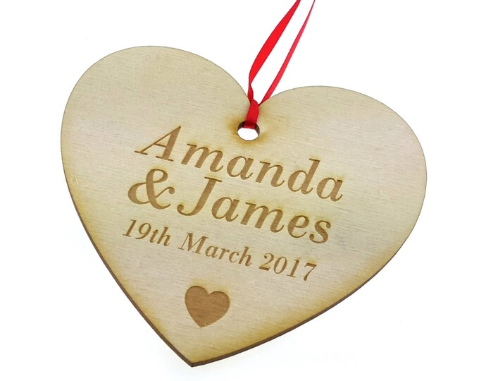 Valentines Gift - Personalised, Wooden, Engraved, Heart - Wall Hanging Plaque, Gift for Mothers Day, Anniversary, Birthday, Wedding