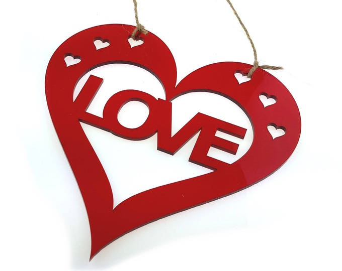 Valentines or Anniversary, Love Red Heart Hanging Wall Plaque - Gift or present for him or her
