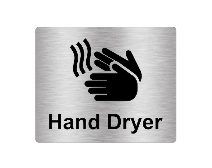 Hand Dryer Sign Adhesive Sticker Notice, Metallic Silver Engraved Black with Universal Icon Symbol and Text (Size 12cm x 10cm)