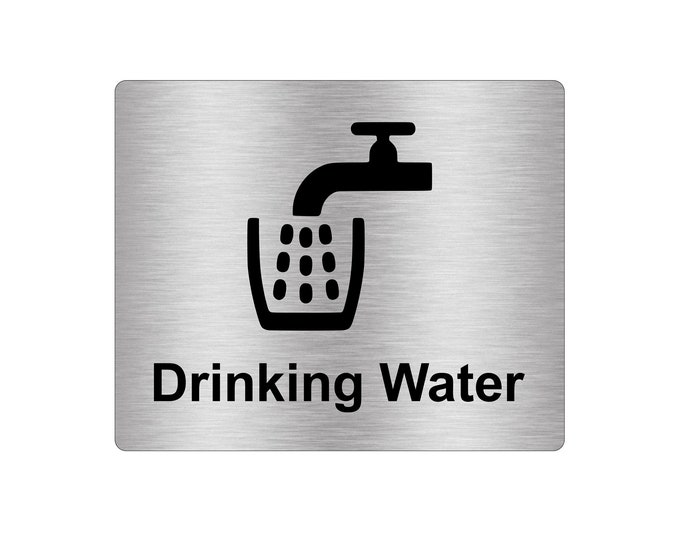 Drinking Water Tap Sink Sign Adhesive Sticker Notice, Metallic Silver Engraved Black with Universal Icon Symbol and Text (Size 12cm x 10cm)