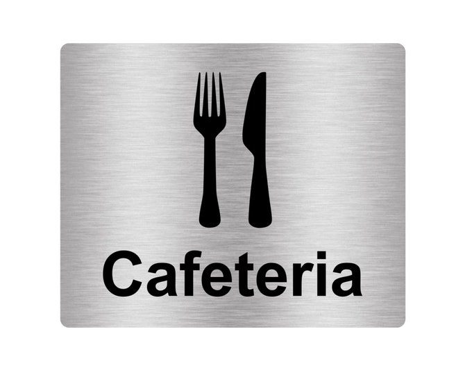 Cafeteria Sign Adhesive Door Sticker Notice with Universal Icon Symbol and Text (Size 12cm x 10cm) Metallic Effect Silver / Gold