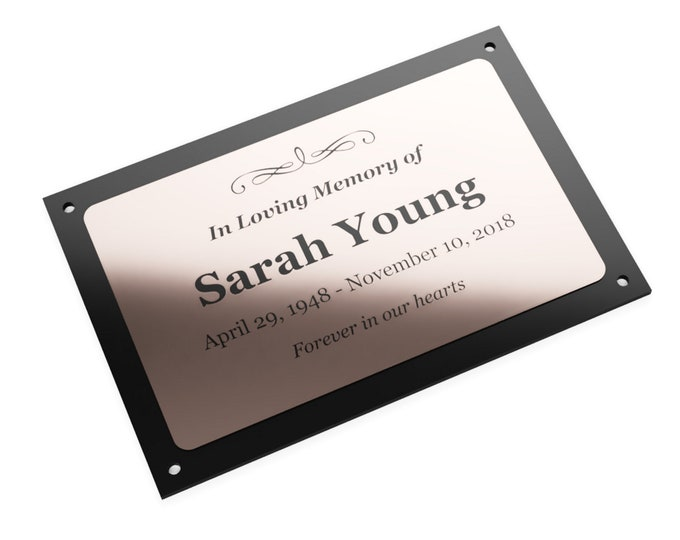 Personalised Memorial Plaque Sign - Choose from Silver, Gold or Copper - Outdoor Garden Waterproof with 4 drill holes