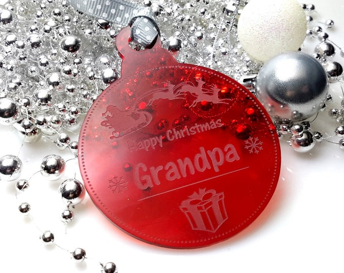 Happy Christmas Grandpa - Christmas Tree, Bauble, Decoration, Gift, Keepsake,