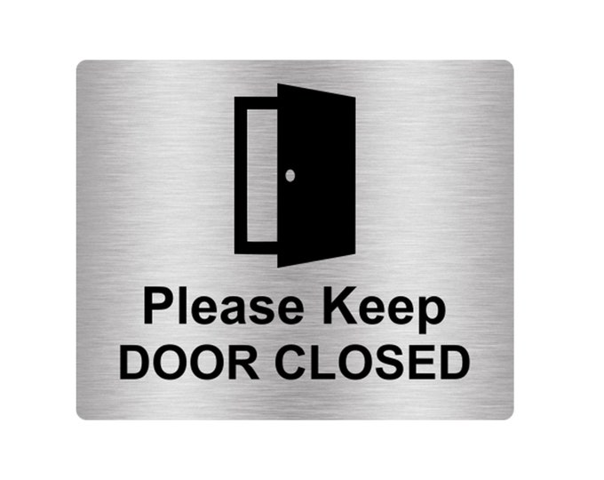 Please Keep Door Closed Sign Adhesive Sticker Notice - engraved with Universal Icon Symbol and Text (Size 12cm x 10cm)