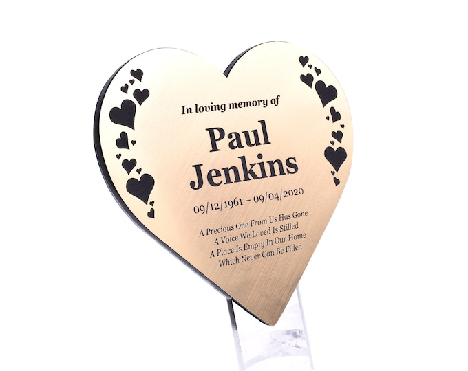 Personalised Floating Heart Memorial Plaque Stake - HEARTS DESIGN, Grave Marker, Outdoor, Garden, Waterproof (Silver / Gold / Copper)
