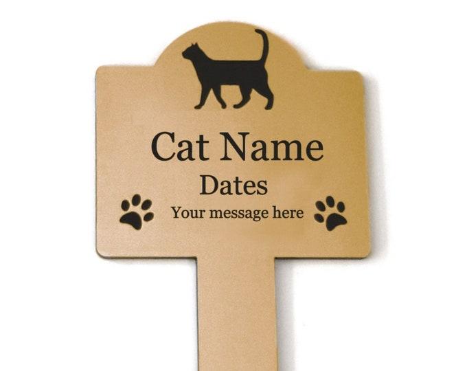 Pet Cat Memorial Stake - Personalised Engraved Metallic GOLD Plaque, Waterproof, Grave Marker, Outdoor, Garden,
