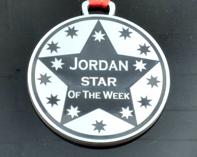 Personalised, Star of the Week, Medal - 7cm Diameter, Silver Metallic, Supplied with Ribbon, school or workplace