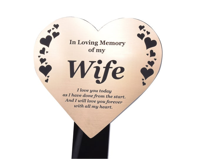 Wife Memorial Remembrance Plaque Stake, HEART SHAPE -  Gold / Silver / Copper, Waterproof, Outdoor, Grave Marker, Tribute, Plant Marker