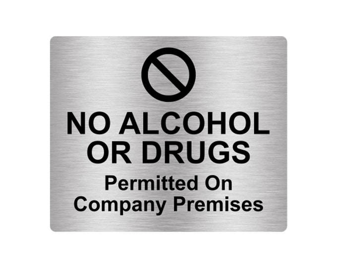 No Alcohol Or Drugs Sign Adhesive Sticker Notice Adhesive Sticker Notice with Universal Icon Symbol and Text (Size 12cm x 10cm)