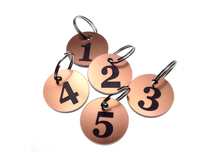 COPPER Small Circular Key Fobs Numbered 1-5 - Acrylic, Black Engraved Numbers, Ideal for Hotels, Guest Houses, Lodges, Lockers