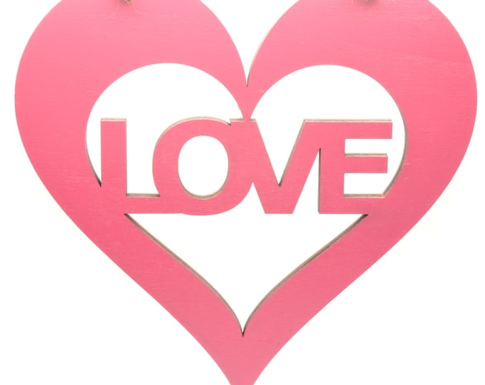 Pink Hanging Heart Plaque with Love