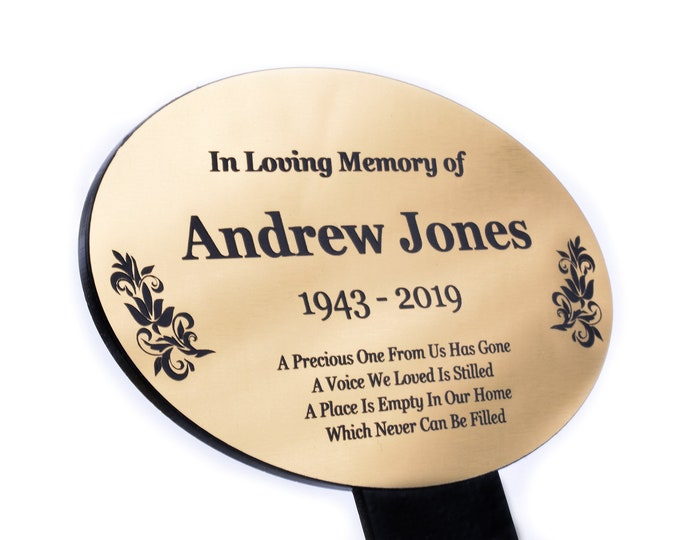 Personalised Metallic Oval Memorial Plaque Stake - Grave Marker Outdoor Garden Waterproof available in Silver / Gold / Copper
