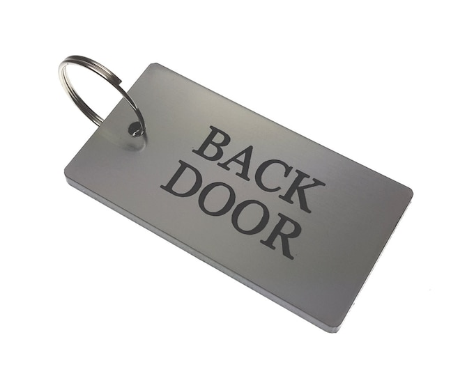 BACK DOOR Key Ring - Silver Metallic Acrylic Plastic, House & Home,
